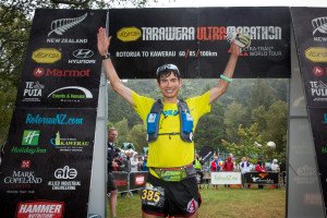 Sage Canaday winning the Tarawera Ultra Marathon 2014 in New Zealand